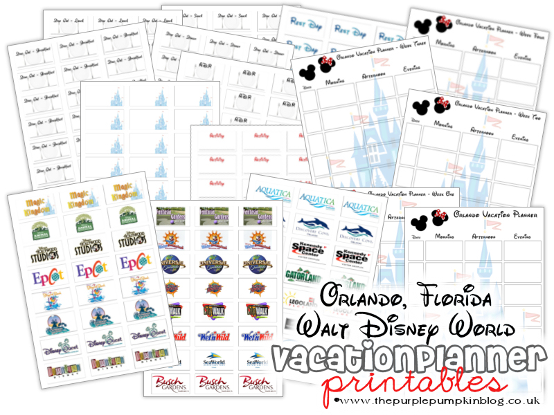 orlando florida walt disney world vacation planner free printable
