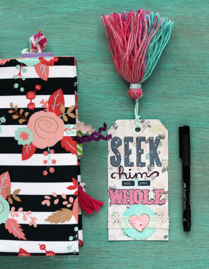 Create a Handmade, Inspirational Tasseled Tag Bookmark for your journaling Bible | www.pitterandglink.com