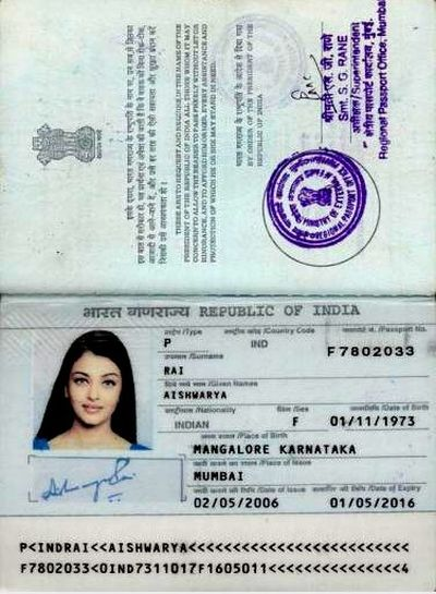 Aishwarya rai`s pass port pictures