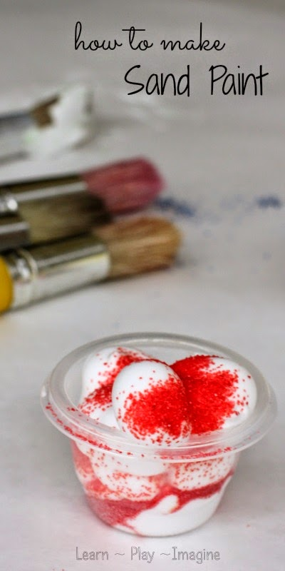 Two ingredient recipe for sand paint - sensory play and art combined with this simple recipe for PLAY!