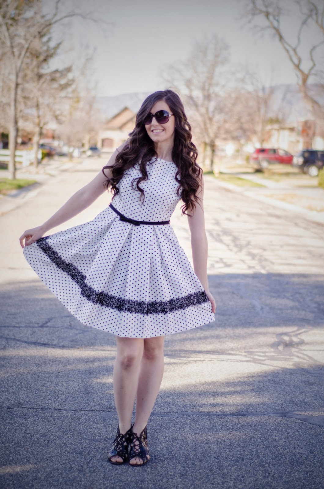 fit and flare polka dot dress, bow belt, polka dot dress, white and black polka dot dress, black and white polka dot dress, dot dress, flared dress, flare dress, jcpenneys,
