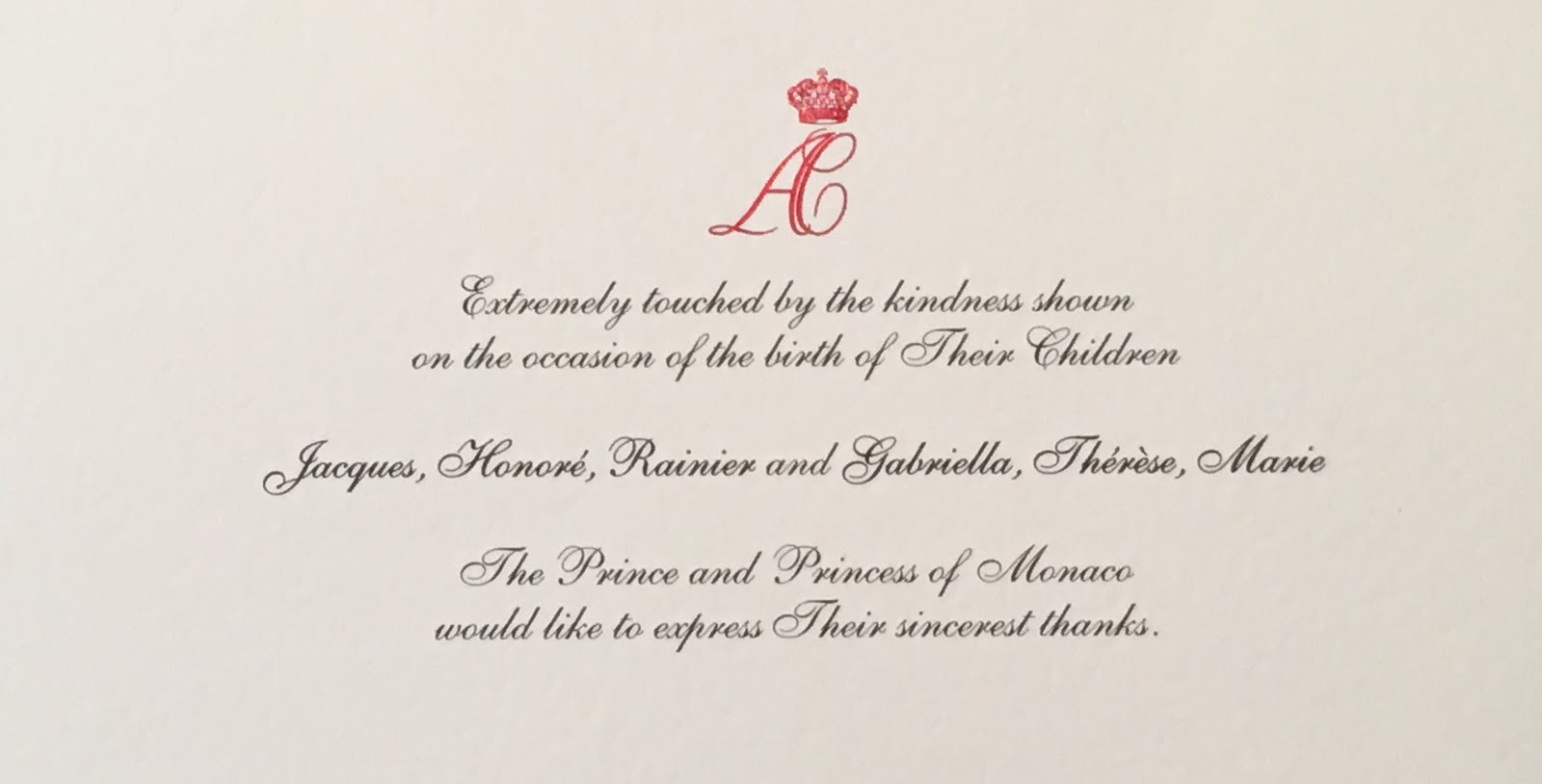 Gerts royals thank you note from monaco for birth of twins 2014 sent a christmas card in response to the same letter the envelope is textured and really nice quality the note is written in both french and english expocarfo Gallery