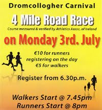 Annual Dromcollogher 4 mile race in Co.Limerick...Mon 3rd July 2017