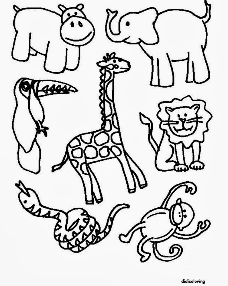 Printable Different Animals All In One For Kids Coloring
