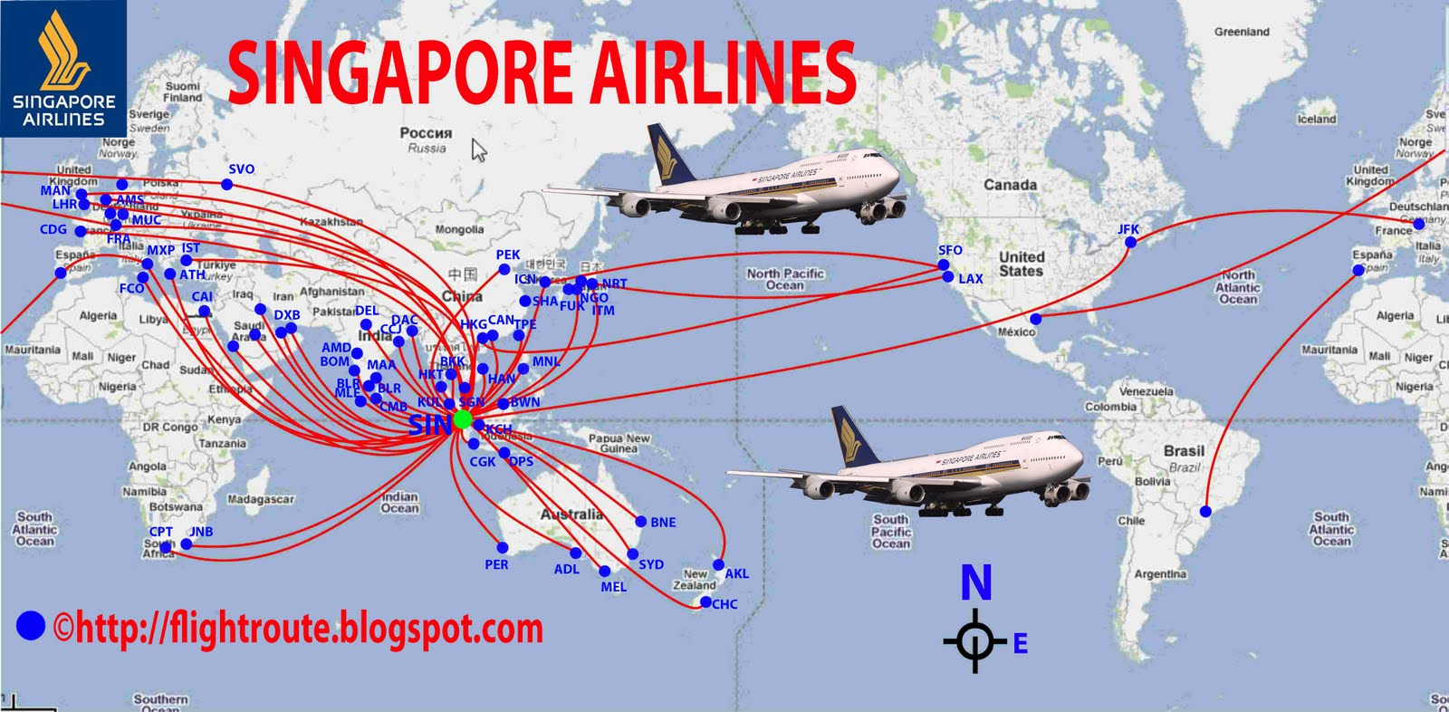 transportspot: Singapore Airlines routes map