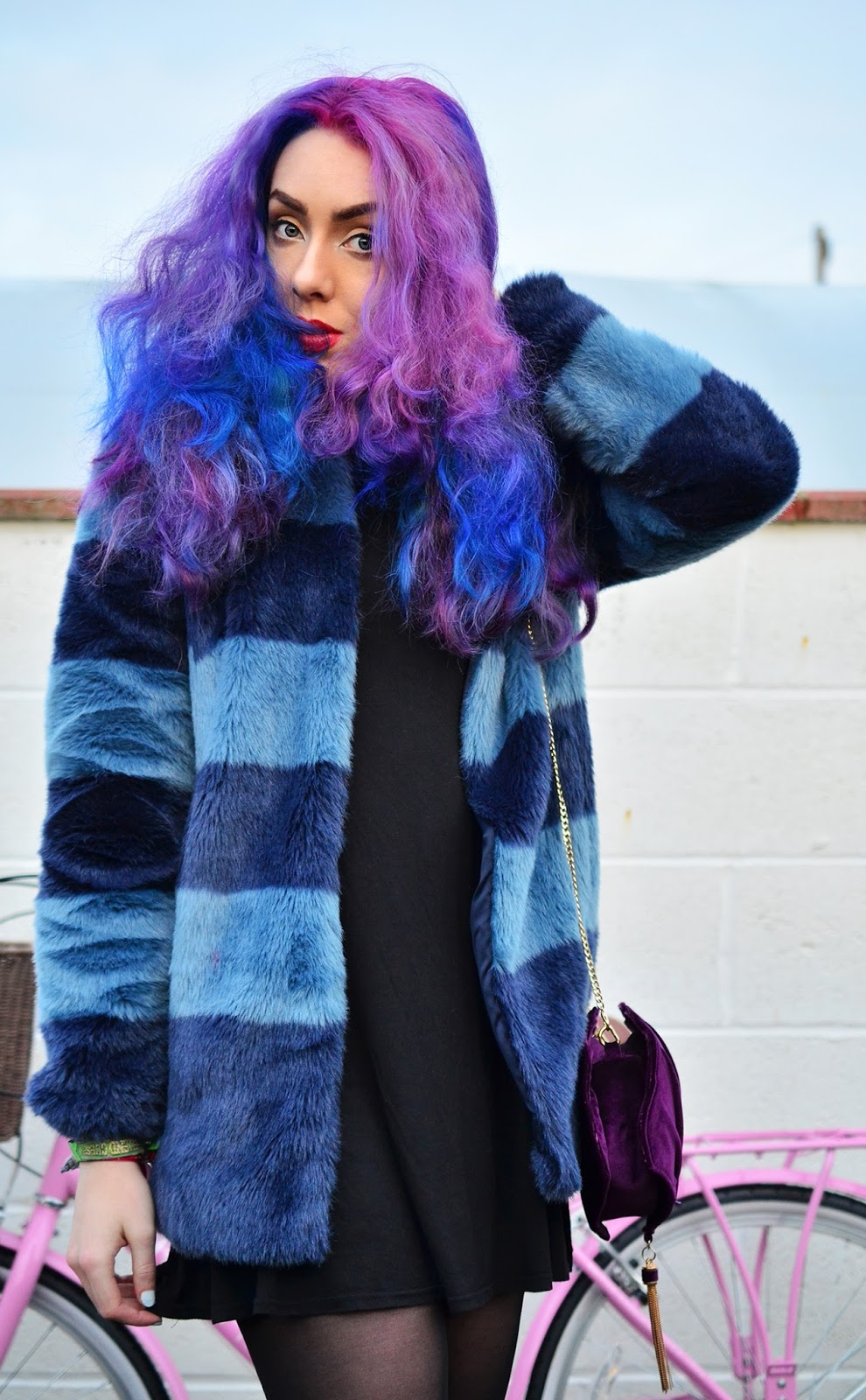 blue fur coat outfit of the day