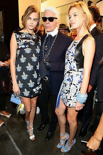 Kara Delvin, Karl Lagerfeld and Georgia May Jagger