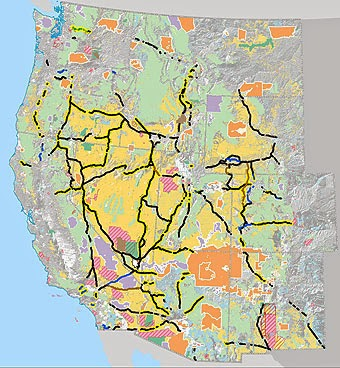 The West-wide Energy Corridor map (draft, November 2007). Click map for larger version with legend (PDF format). (Credit: U.S. Department of Energy)