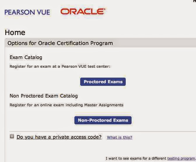 Proctored exam : Oracle  java certification