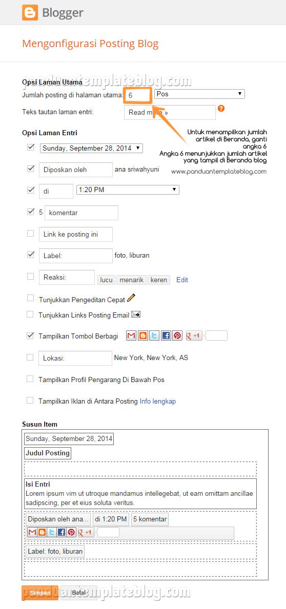 Cara Menampilkan Jumlah Artikel Di Beranda Blog