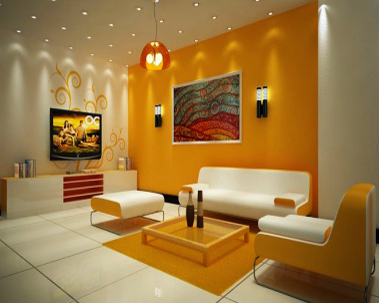 Delightful Bright Latest Living Room Design Modern White Orange And Orange Color Living  Room Interior Design