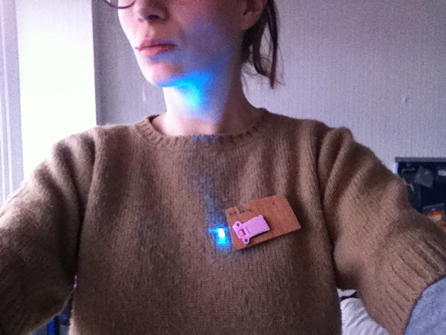 Prototype circuit brooch being worn.