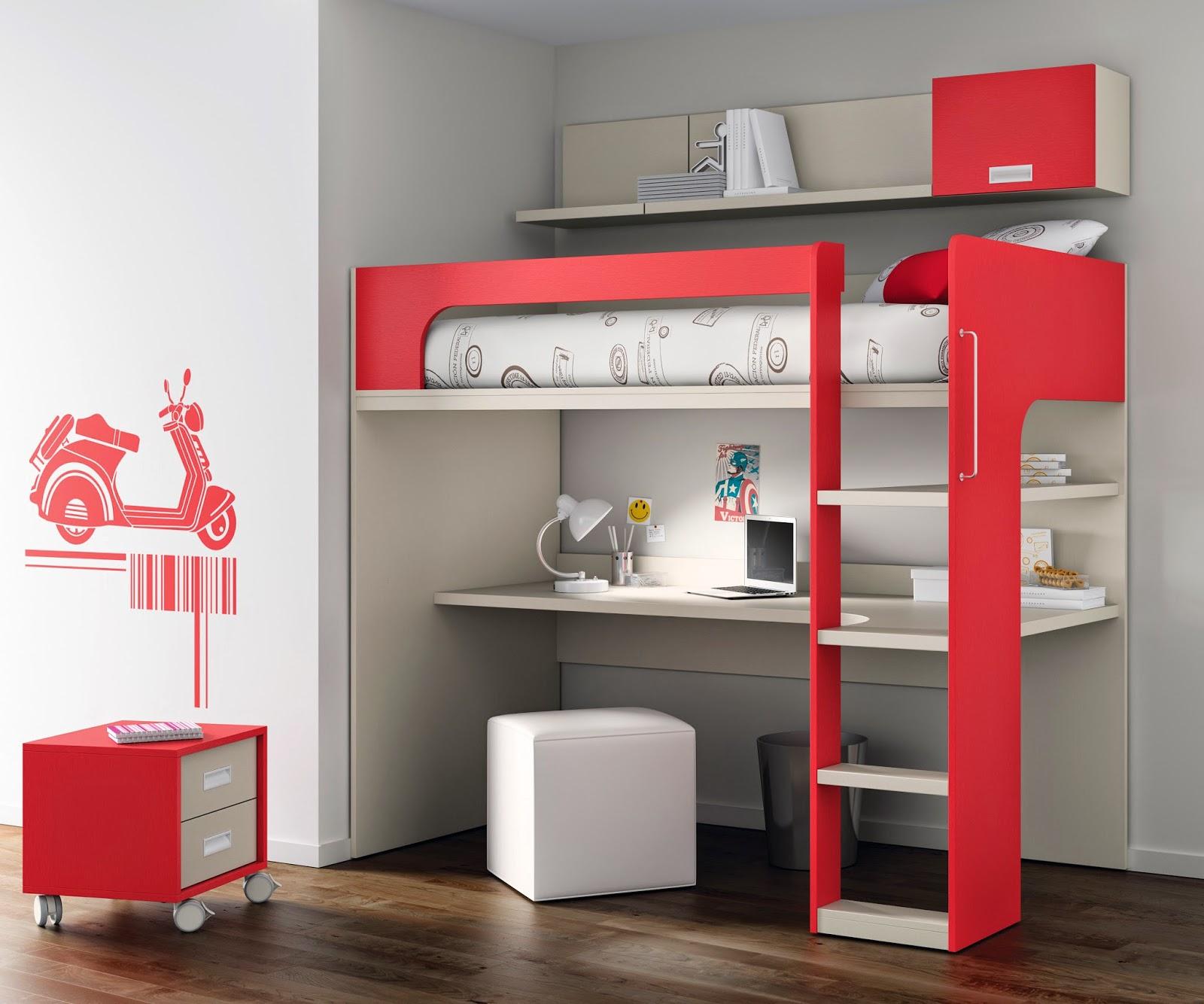 La habitaci n de un adolescente es m s que un dormitorio - Literas con escritorio abajo ...