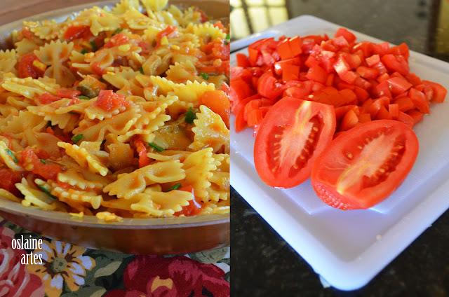 Macarrão Gravatinha com Bacalhau e tomates