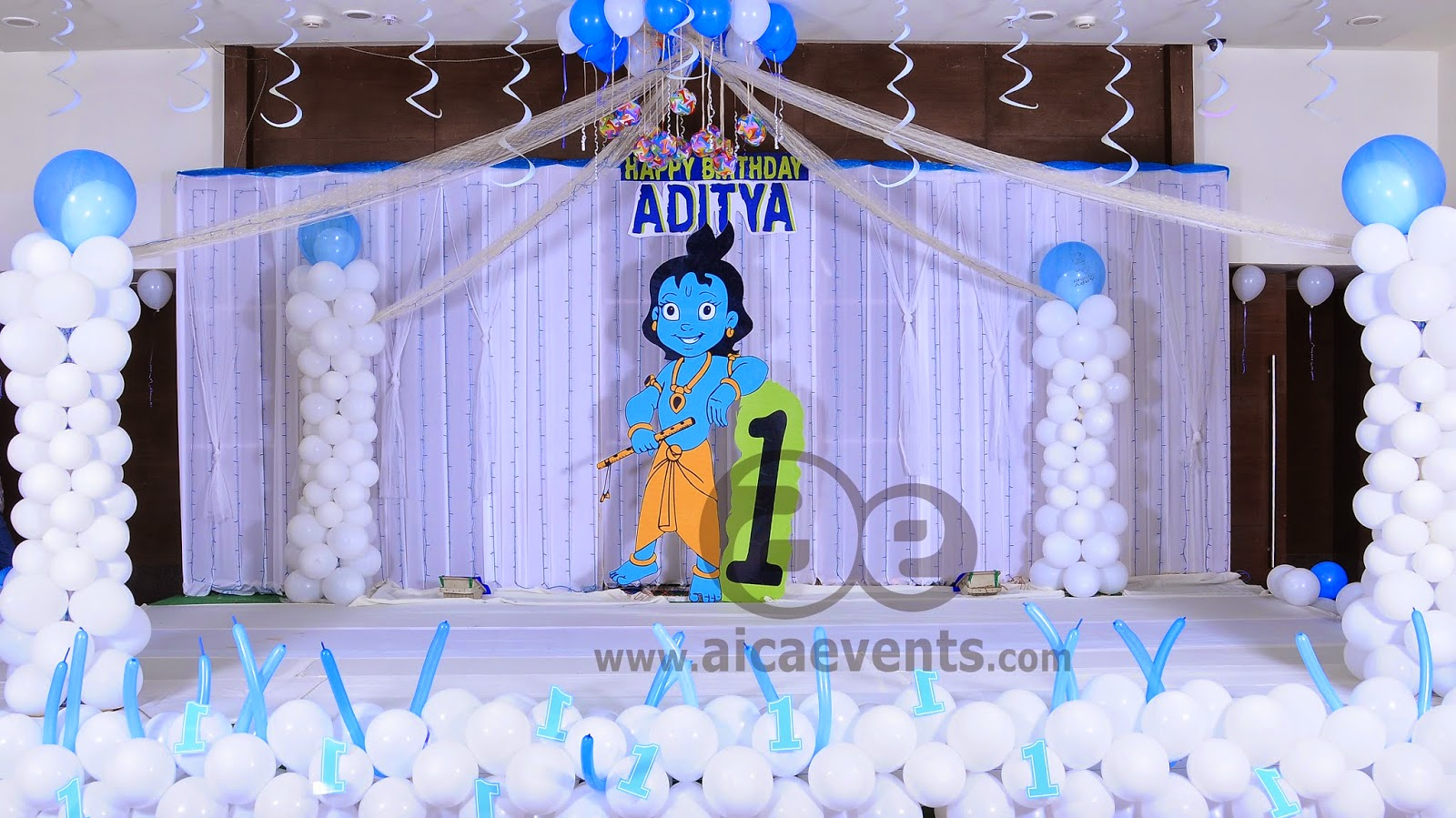 Aicaevents india krishna theme birthday party decorations for Backdrop decoration for birthday