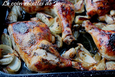 Le coin recettes de jos cuisses de poulet r ties l 39 oignon - Cuisse de poulet grille au four ...