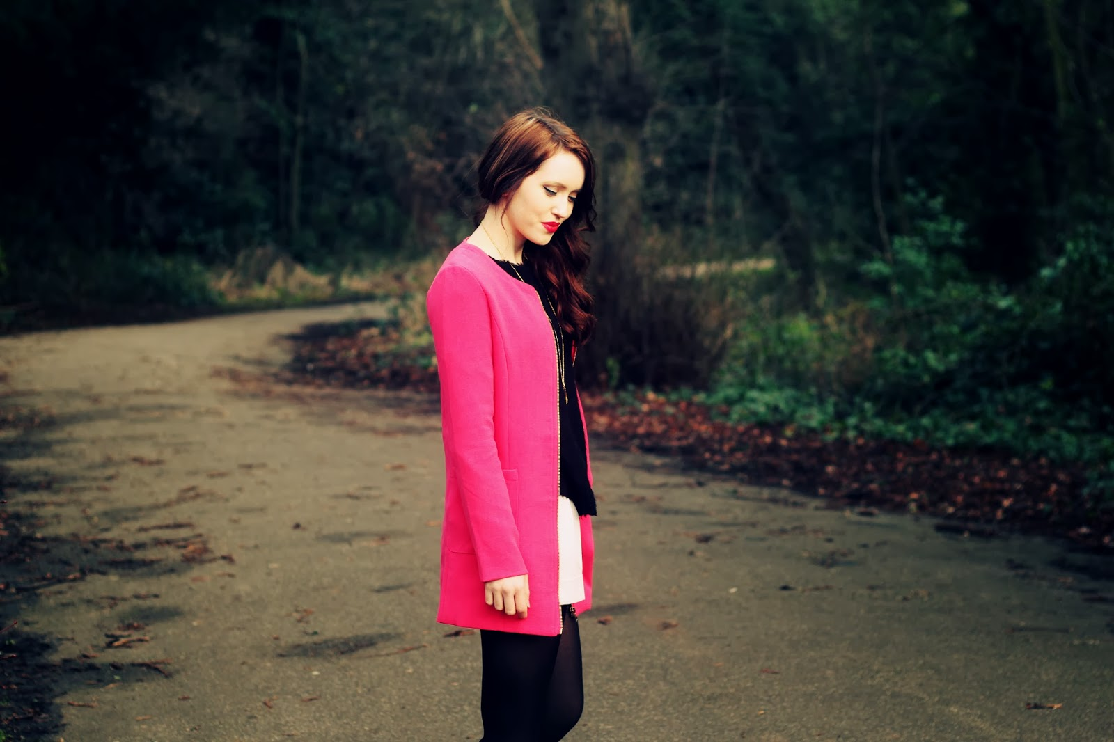 pink jacket coat fashion blogger uk