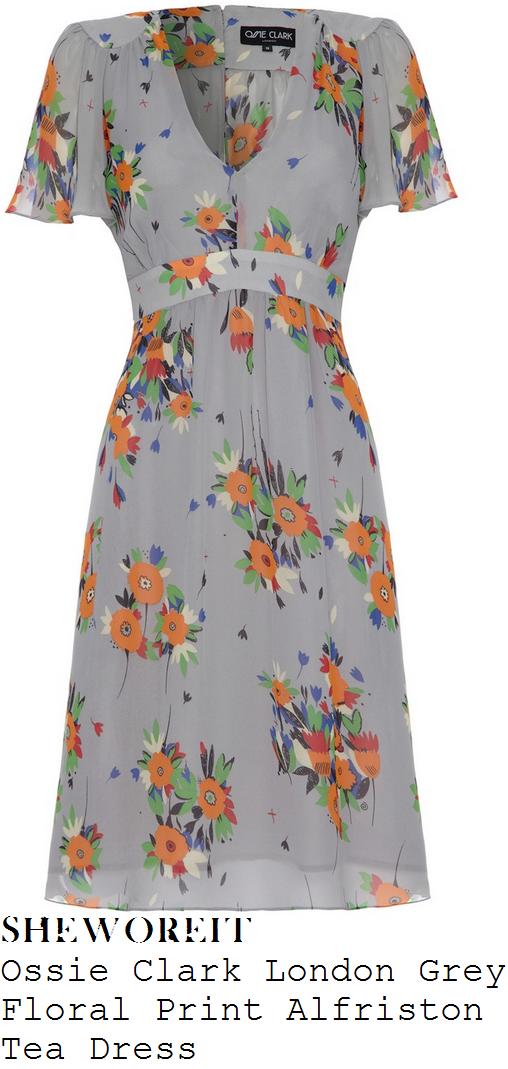 myleene-klass-grey-orange-and-multicoloured-floral-print-v-neck-short-sleeve-tea-dress-loose-women