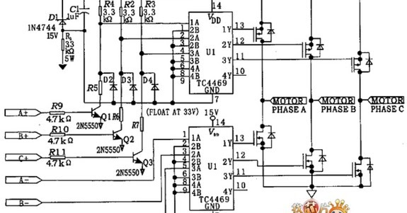circuit schematic three phase brushless motor driver using