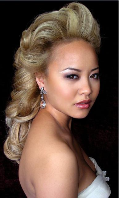 Top Knot And Fringe Blonde Asian