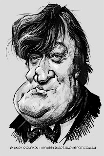 Digital caricature - Stephen Fry by Andy Dolphin