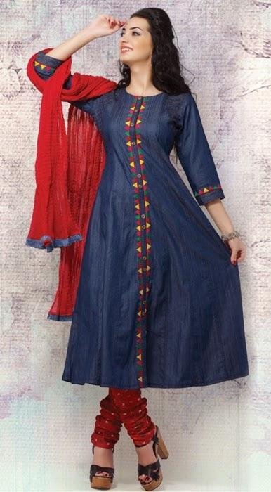 Denim Embroidered Salwar Kameez | Denim Anarkali Suits | Girls Denim Clothing - Clothing9Store.pk