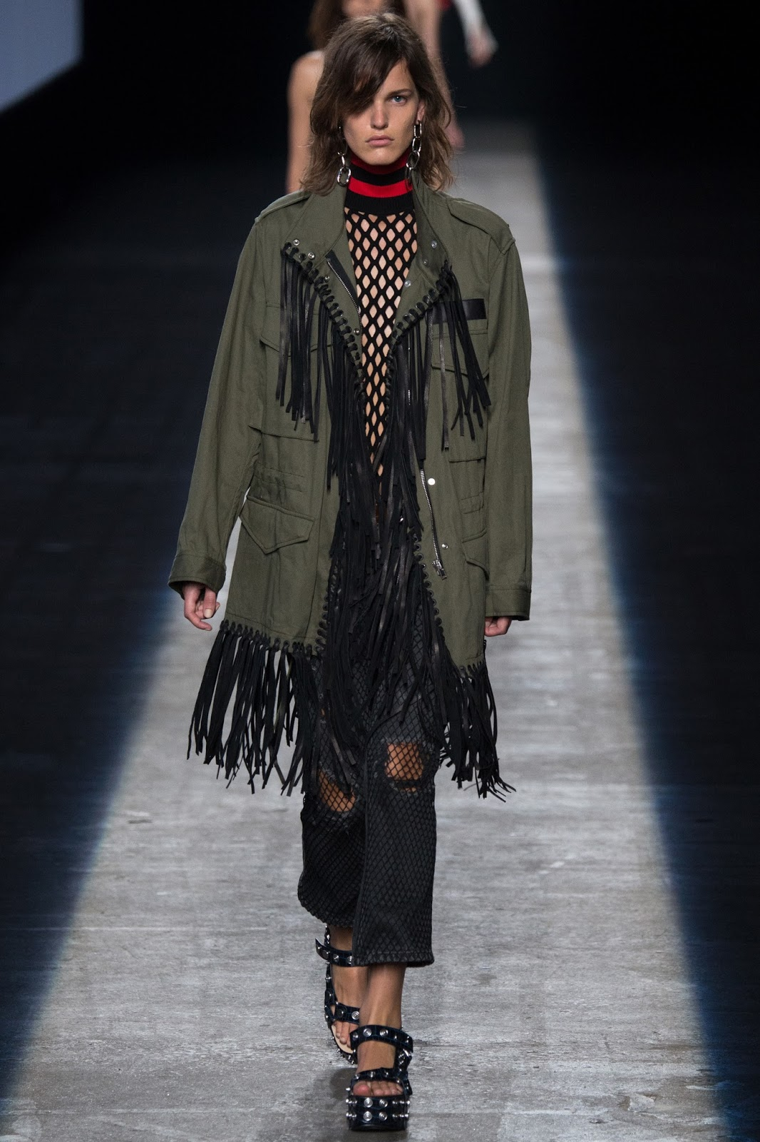 NYFW fringing military jacket fishnet