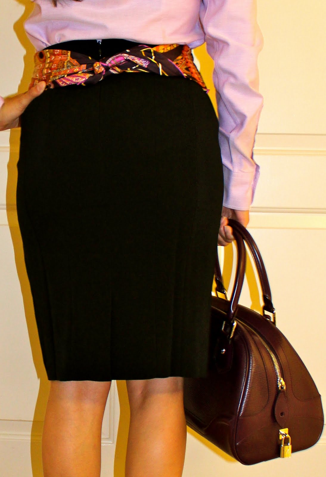 Ann Taylor skirt with Hermes scarf