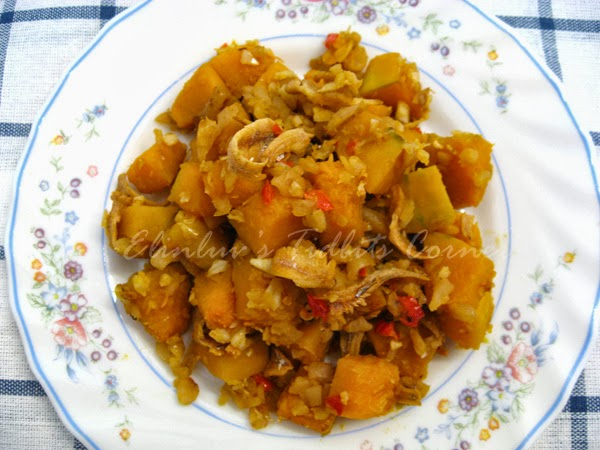 Elinluv's Tidbits Corner: Stir Fry Pumpkin With Preserved Turnip