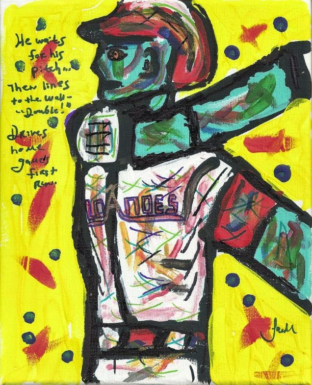 "2014 | Justin Lacche | Bottom of the First, RBI Double 8""x10"" acrylic & pen"