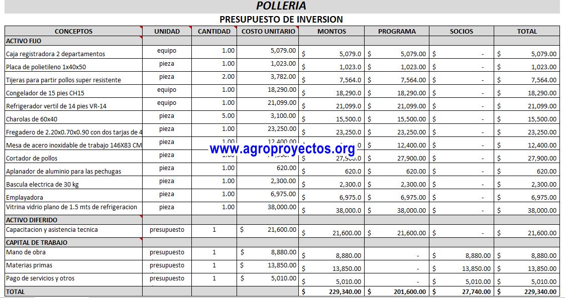 Análisis Financiero en Excel proyecto de Polleria