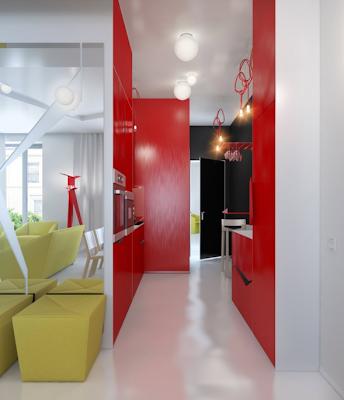 entrada apartamento pequeño rojo y blanco