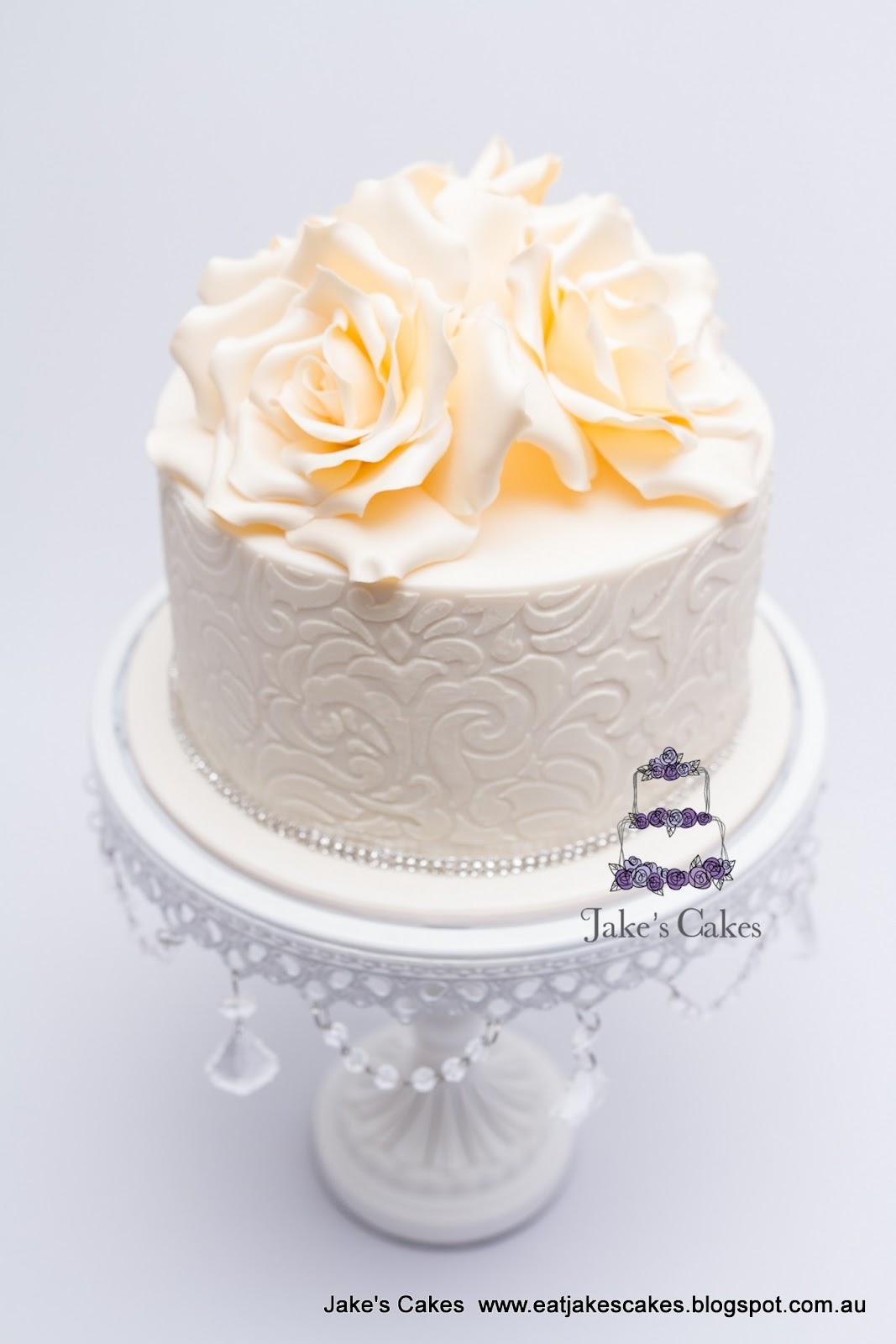 Jakes Cakes Ivory Rose Birthday Cake