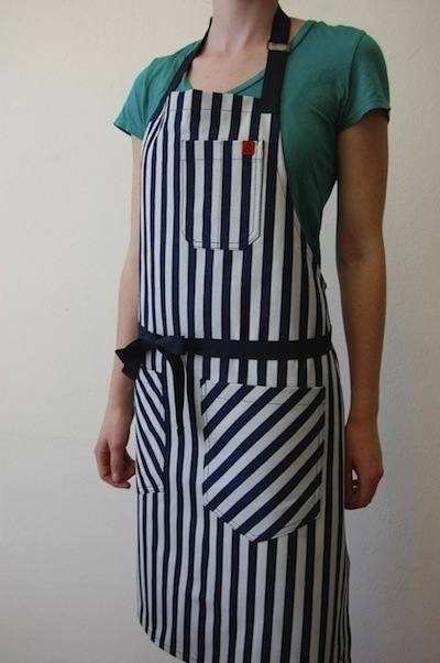 apron, striped, three pockets