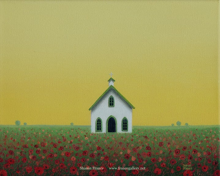 I Like To Paint Simple Country Landscapes And Fairly Often Use Red Poppies In My Scenes Had Not Painted An Old Church For Quite A While Now