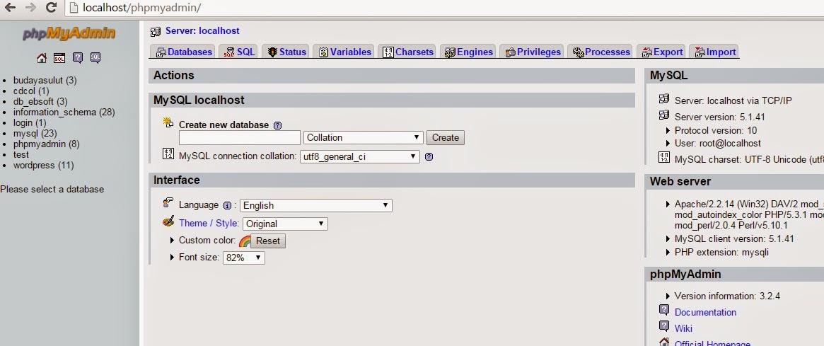 phpmyadmin - Membuat Kegiatan Mean Dengan Java Dan Mysql