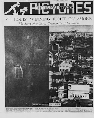 "Saint Louis Winning the Fight on Smoke"" from the February 2, 1941 issue of the Saint Louis Post Dispatch shows the city before their smoke ordinance in 1939 and after in 1940. The article has a sticker showing ownership of the paper by the Civic Club of Allegheny County in the Hotel William Penn in Pittsburgh, Pa. The remarkable success of the Saint Louis smoke control program made a strong impression on Pittsburgh, a city confronted with similar air pollution problems."