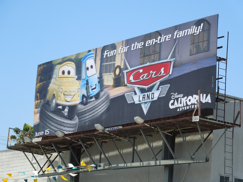 Cars Land entire family billboard