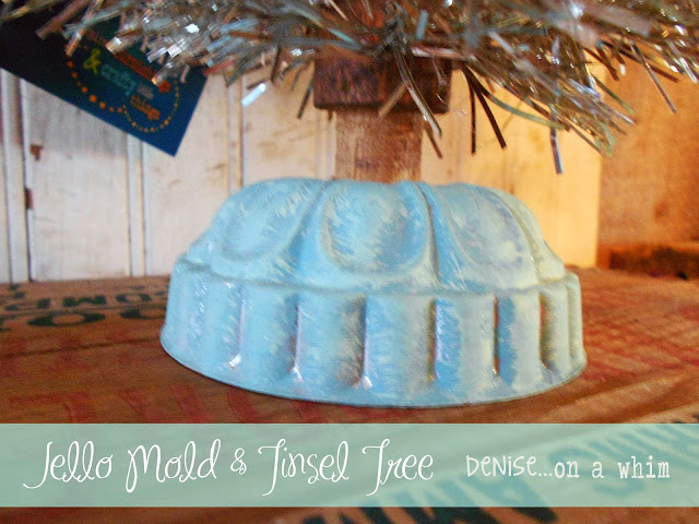 A Jello Mold with some chalk paint as the base to a shiny, thrifty Christmas tree via http://deniseonawhim.blogspot.com