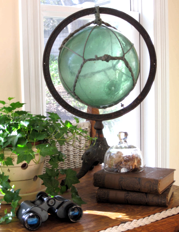 decorative glass ball on stand