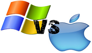 colored microsoft vs blue apple logo
