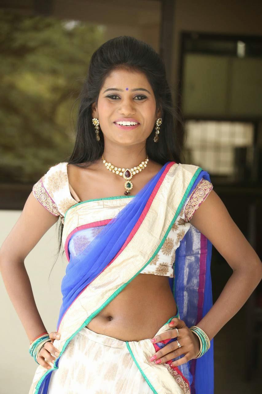 Actress Neetu Latest Cute Hot Transparent Blue Half Saree Navel Show Spicy Photos Gallery