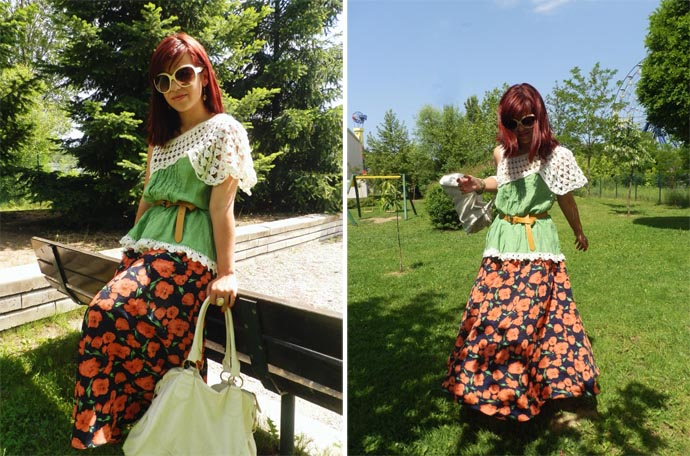 Outfit I wore: My favorite floral printed maxi skirt that I've made my self with a green top made by my mom, a yellow belt from Bershka, white sunglasses from H&M and a white leather purse I bought in Holland