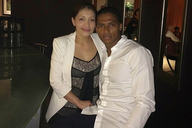 Antonio Valencia with cool, Wife Zoila Valencia