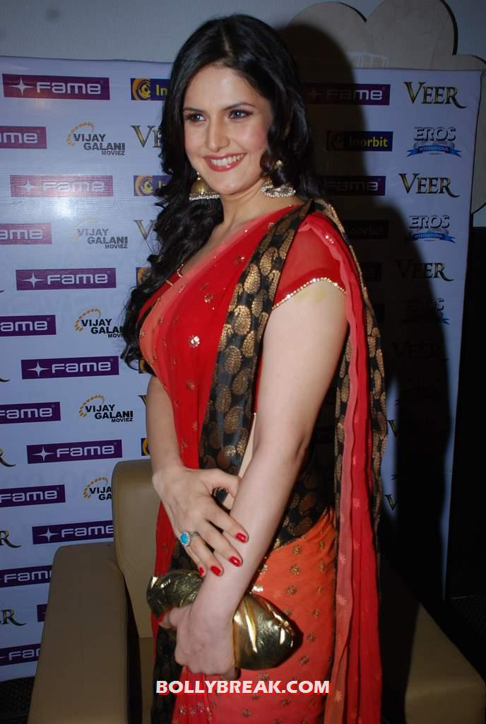 ,  Zarine Khan In Red Saree Hot Photos