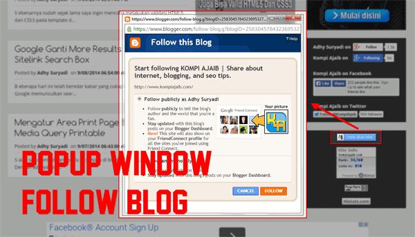 Popup Window Pada Link Follow This Blog
