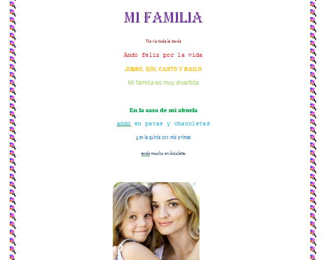 5to Grado - VDS - 2015: Hicimos una poesía a nuestra familia...
