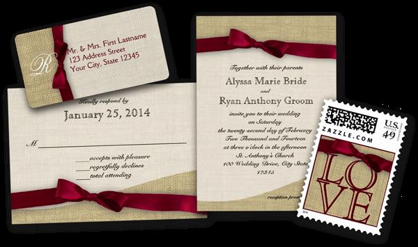 Cranberry Ribbon and Burlap Wedding Invitations