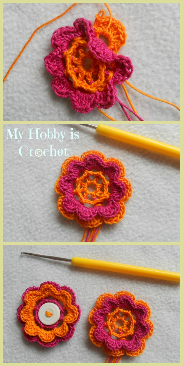 My Hobby Is Crochet: 2 Layered 8 petal thread flower- Free crochet ...
