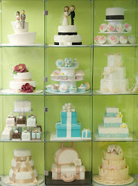 My new cake display in my studio, beautifully framed against my pistachio wall.